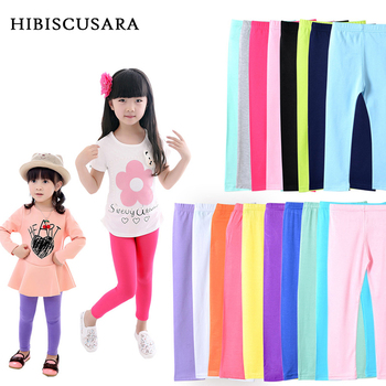 цены Girl Pants Soft Elastic Modal Cotton Kids Leggings Candy Color Girls Skinny Pants Trousers Solid Color 2-13Y Children Trousers