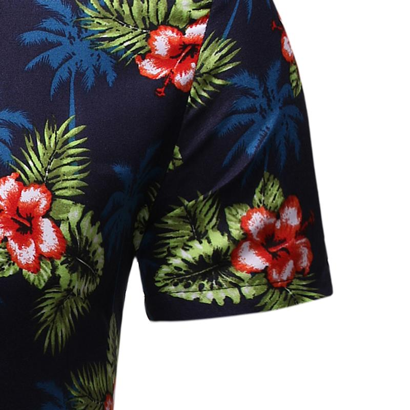 Hawaiian Beach Flower Shirt For Men Summer Fashion Blouse Men Floral Shirt Dress Short Sleeve Casual New