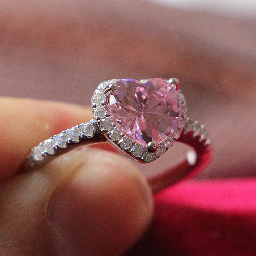 pretty in touched high quality 2ct pink heart shape diamond ring for women real white gold - Cheap Real Diamond Wedding Rings