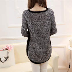 New Fashion Autumn  Brand Female Mohair Pullover Loose Sweater Knitted Long Sleeve O-neck Gray Pullovers Hot Sale Sweater 4