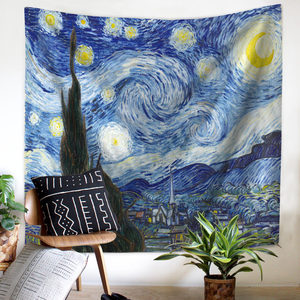 Image 3 - Painting Sunflower Sky Print Clouds Psychedelic Fatima Sun Wall Tapestry Beach Towels Dorm Farmhouse Decor Macrame Wall Hanging