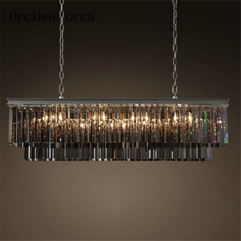 European Retro Square Crystal Pendant Lamp Hotel Living Room Dining Room American Luxury Modern Iron Crystal Lamp Free Shipping