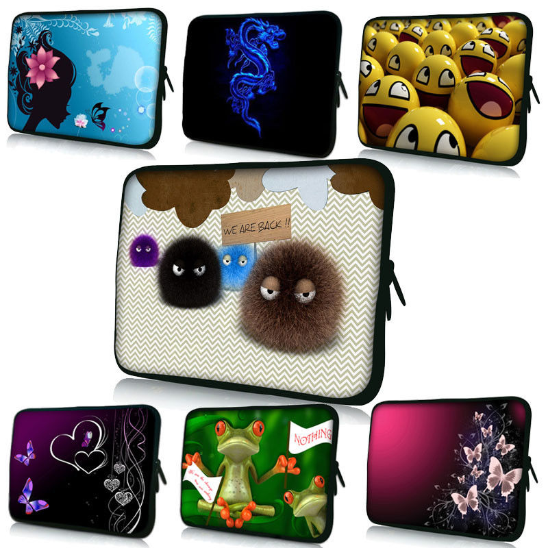 """Cute designs Soft Laptop Notebook Tablet Sleeve Bag Case Cover Pouch+Handle for Macbook 10"""" 12"""
