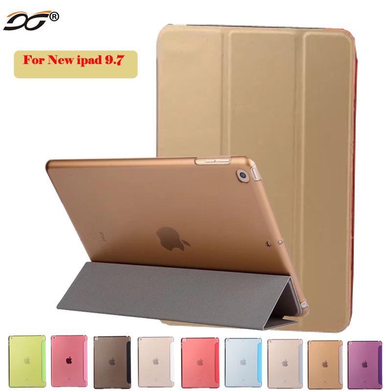For ipad New 9.7 Case PU Leather Stand Smart Cover with Auto Sleep/Wake for iPad Air For ipad 9.7 Case 2017 A1474 A1822 A1823 for ipad air 2 air 1 case slim pu leather silicone soft back smart cover sturdy stand auto sleep for apple ipad air 5 6 coque