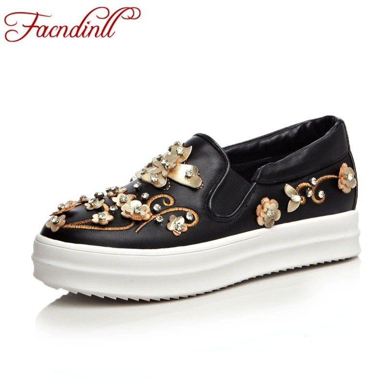 FACNDINLL spring autumn genuine leather flat shoes woman platform loafers fashion rhinestones beading casual slip-on women flats fashion bow tie women shoes 2017 spring autumn slip on woman genuine leather single shoes solid casual flat shoes size 35 40