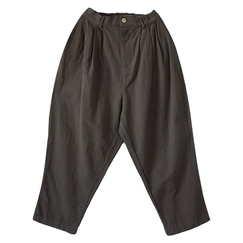 Lâche Gris Printemps Long Automne De Taille Plus Occasionnels Toile La Femmes Coton Pantalon Lrcp dtwqz4Ow
