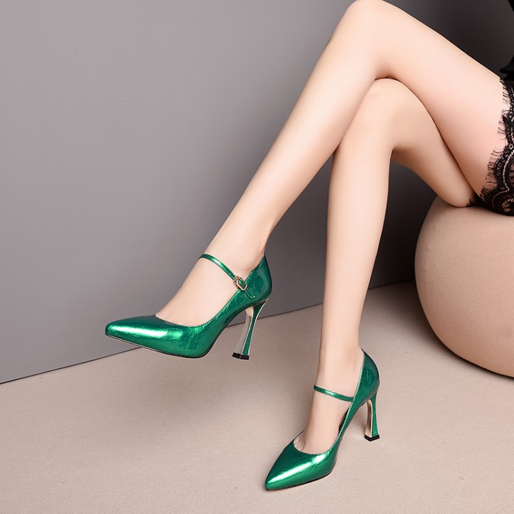 MLJUESE 2019 women pumps autumn spring Cow leather Mary Janes buckle strap green high heel lady shoes size 34-43 party dressMLJUESE 2019 women pumps autumn spring Cow leather Mary Janes buckle strap green high heel lady shoes size 34-43 party dress