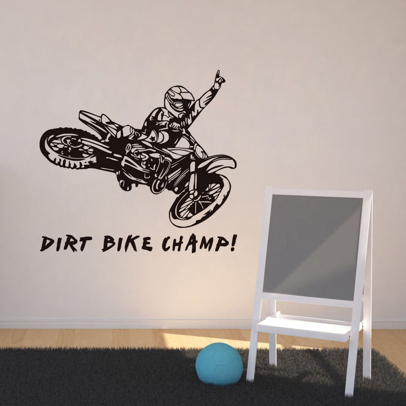 Dctop dirt bike champ quote vinyl wall sticker kids room for Dirt bike wall mural