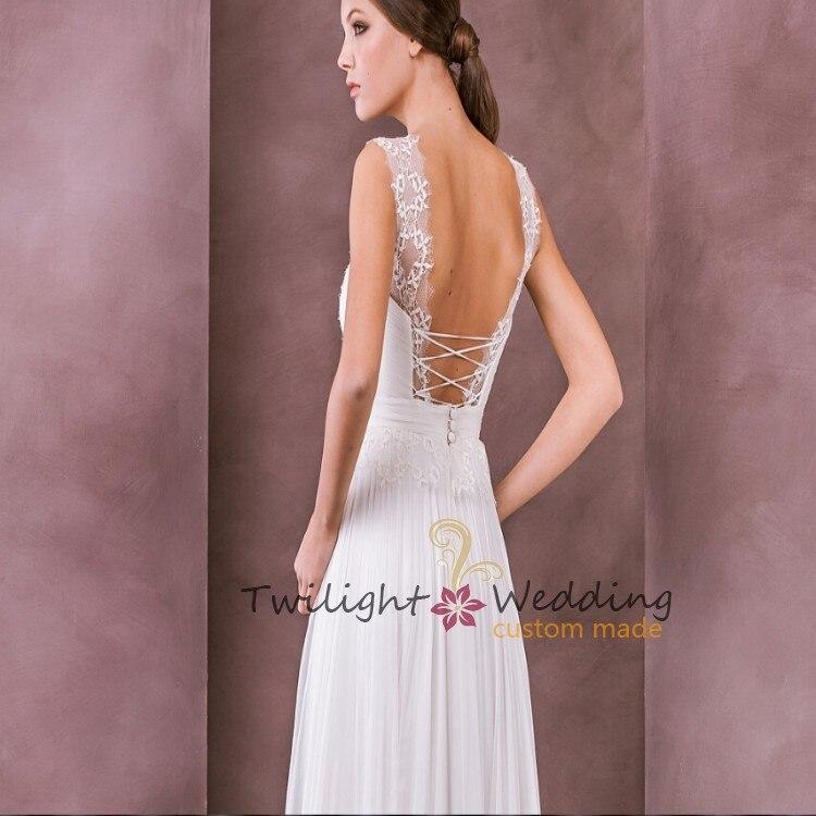 Cheap Price White Chiffon Fabric Sexy Open Back Plus Size Kleinfeld