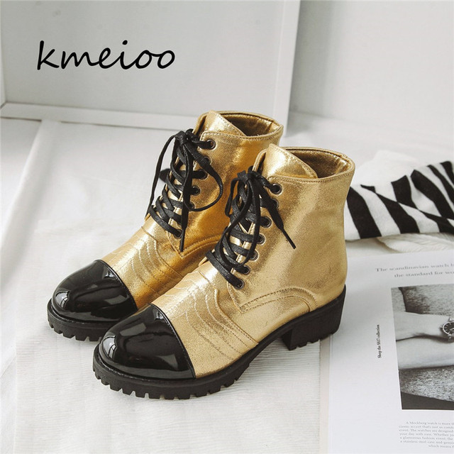 Kmeioo 2018 Autumn 및 겨울 Boots Women Round Lace Up Ankle Boots Chunky 힐 마틴 Motorcycle Boots