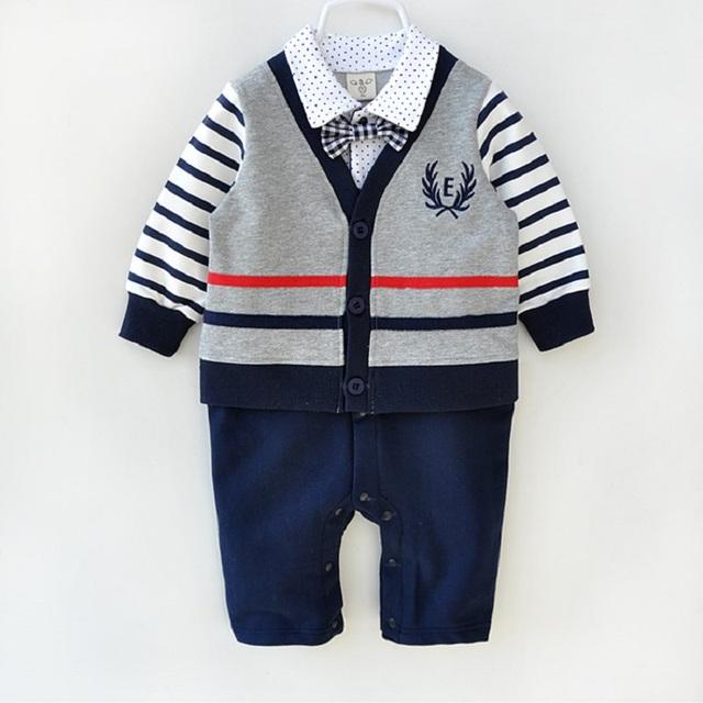 Roupas da moda 100% de algodão do bebê recém-nascido infantil de alta qualidade formal vestido mamelucos para bebes roupa cavalheiro menino romper
