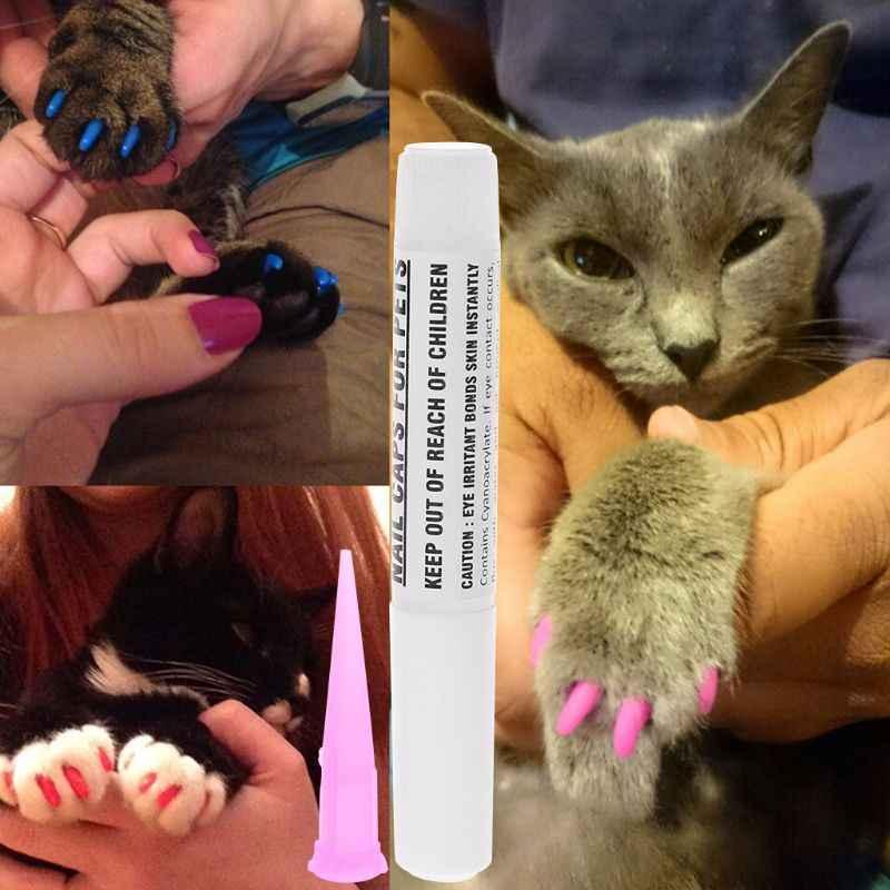 애완 동물 강아지 고양이 네일 커버 클로 발톱 소프트 젤 프로텍터 접착제 접착제