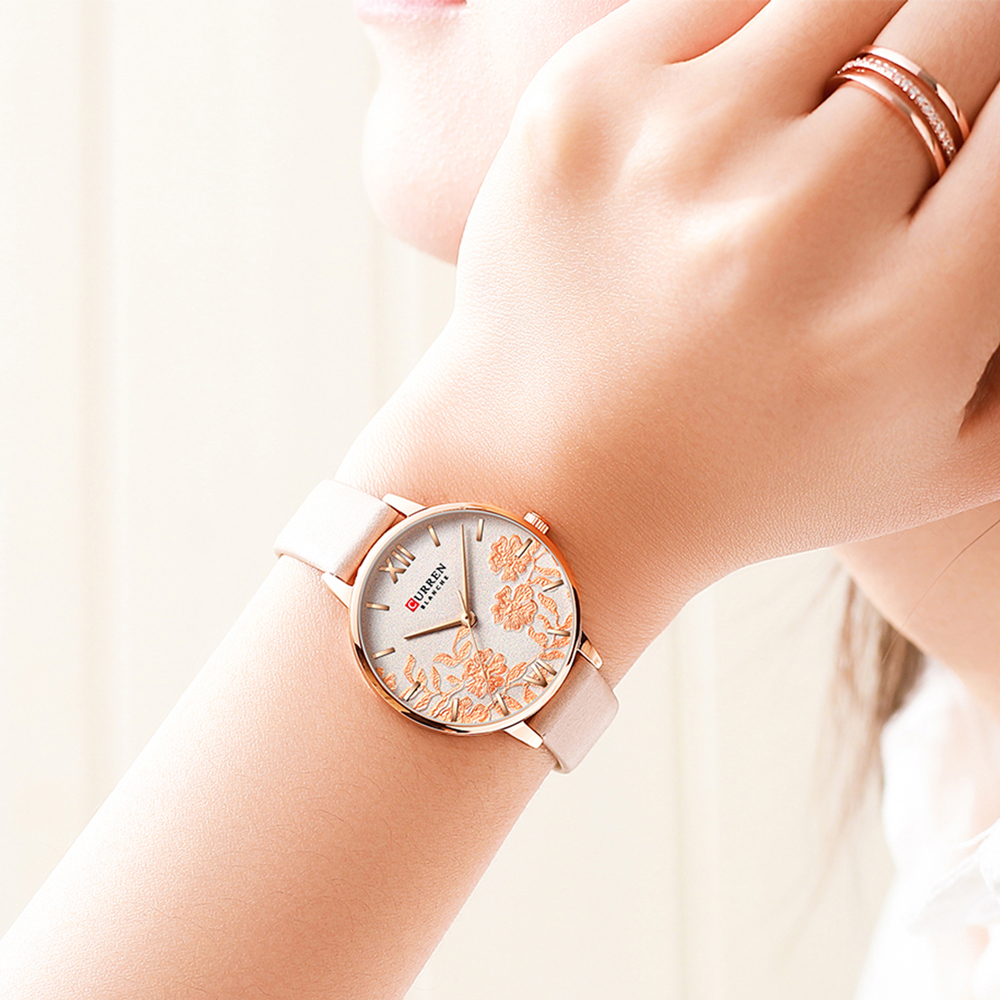 CURREN Ladies Watch Pink Flower Dial Quartz Leather Wristwatch Relogio Feminino Casual Rose Gold Analog Watches Women Dress Gift in Women 39 s Watches from Watches