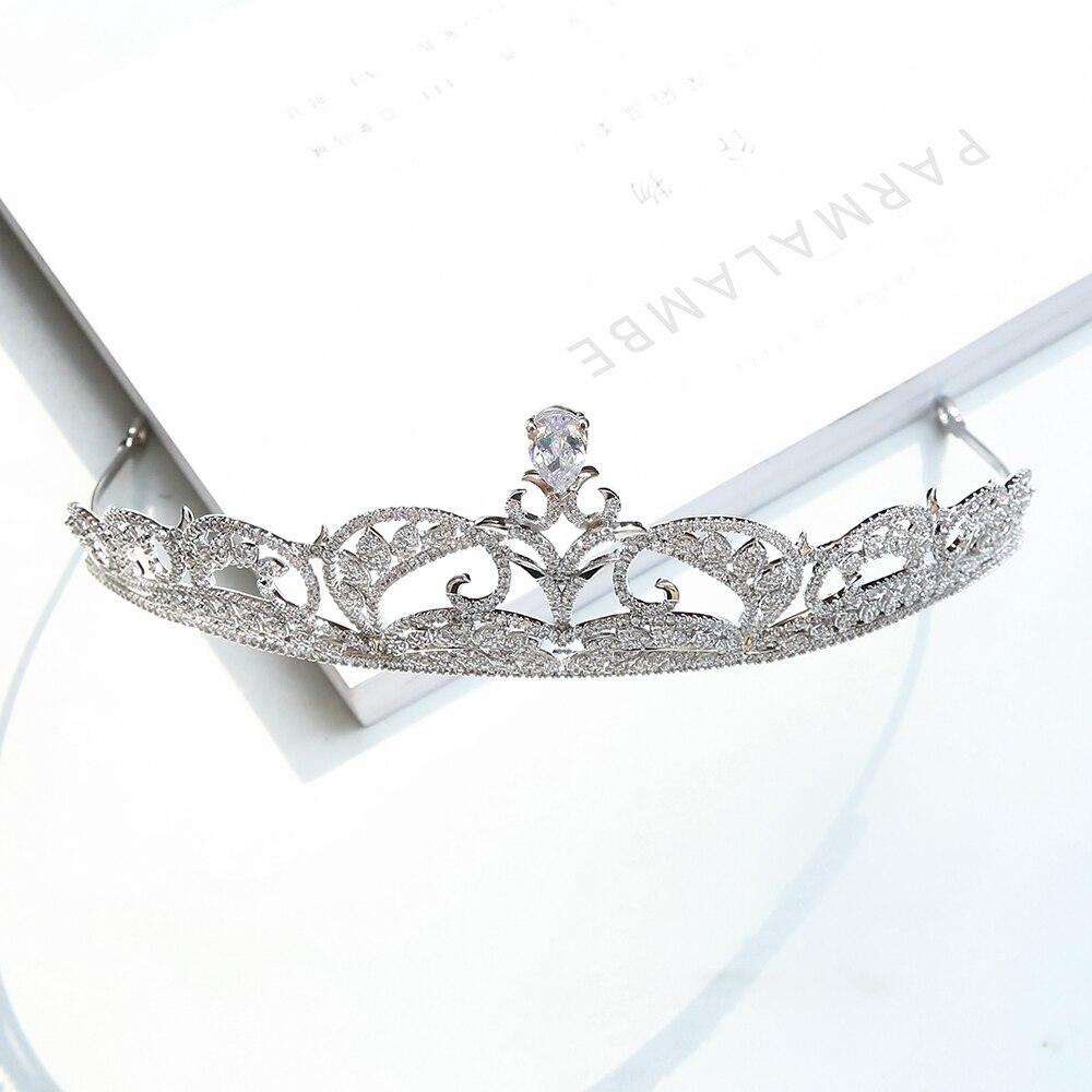 Parmalambe High Quality Silver Zircon Hair Tiaras Glinting Hair Jewelry Bridal Headpieces Crown Wedding Hair Accessories цена