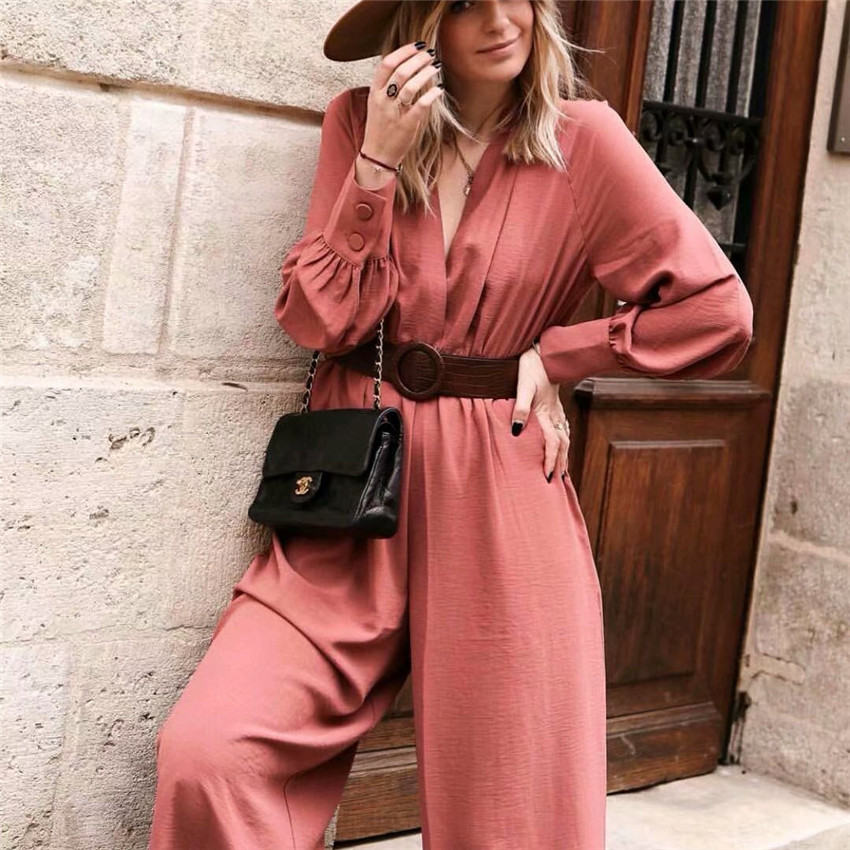 Women Fashion Sexy V Neck Solid Jumpsuits Wide leg pants Sashes Decorate Elastic Waist pockets Rompers Female Chic Playsuits