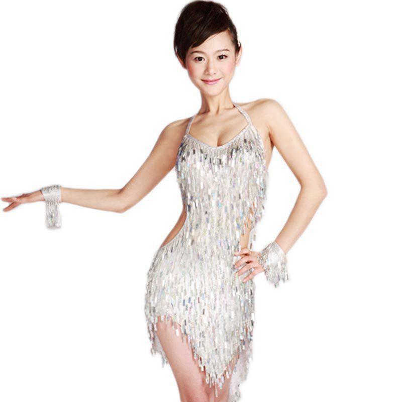 Femmes danse latine robe pour salle de bal danse robes Tango danse jupe 2015 nouveauté frange Vestidos nu femmes