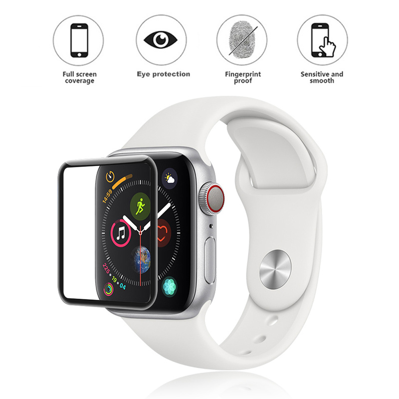 Tempered Glass For Apple Watch Curved Surface Film 40mm 44 Mm Screen Protector Full Coverage Silk Print  For Apple Series Watch4