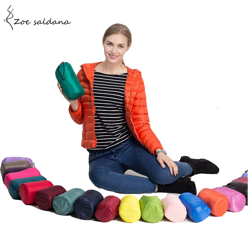 Zoe Saldana 2018 Ultra Light Down Jacket Autumn Winter Duck Down Coat Women Short Style Hooded Silm Jacket Outerwear
