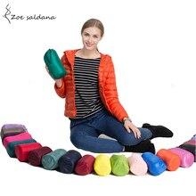 Zoe Saldana 2018 Ultra Light Down Jacket Autumn Winter Duck Down Coat Women Short Style Hooded