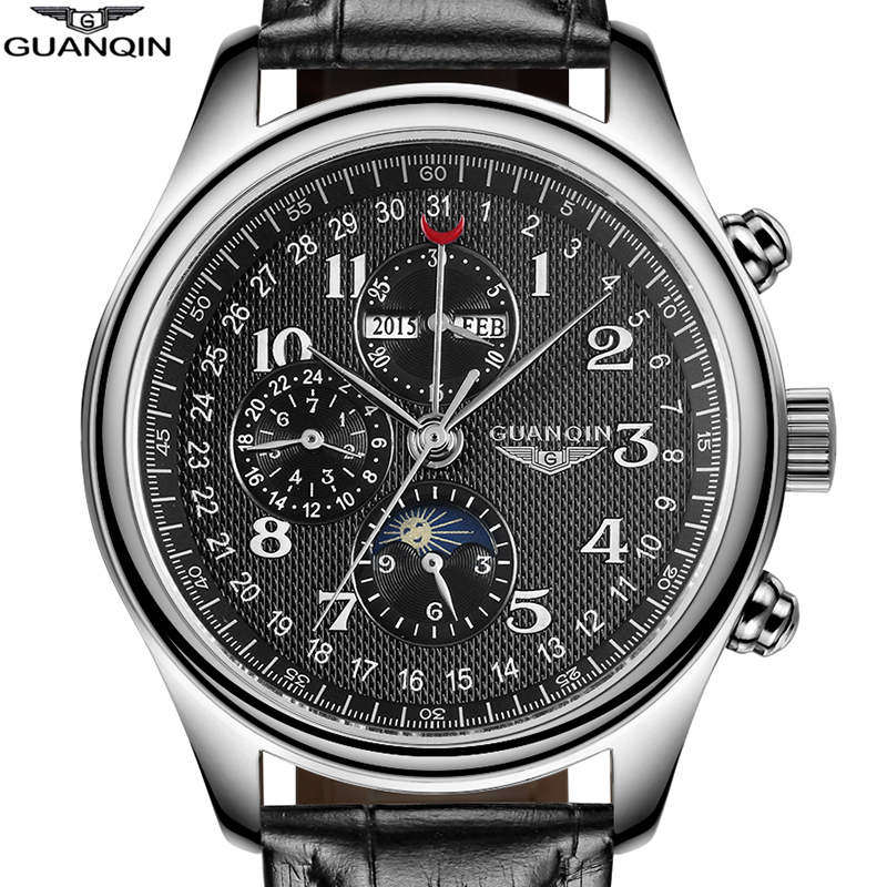 GUANQIN Automatic Mechanical Men Watches Top Brand Luxury Waterproof date Calend