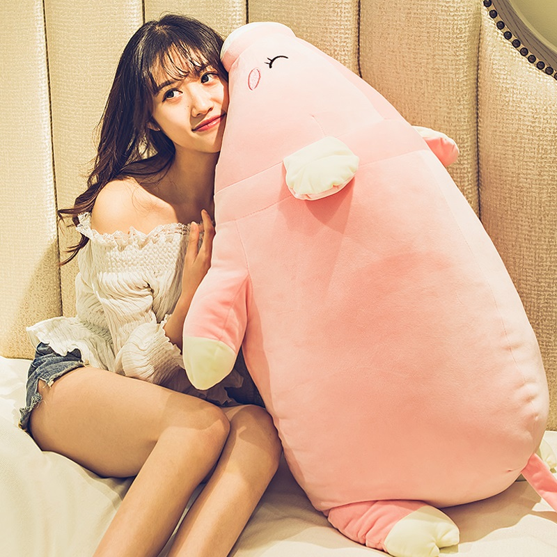 kawaii pink pig doll giant plush cartoon piggy toy cute sleeping pillow for girl birthday gift