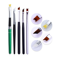 French Tip Nail Brush Acrylic UV Gel Drawing Painting Pen Silver Black Handle Design Manicure Nail Art Tool makeup art design steel painting nail brush pen silver pink