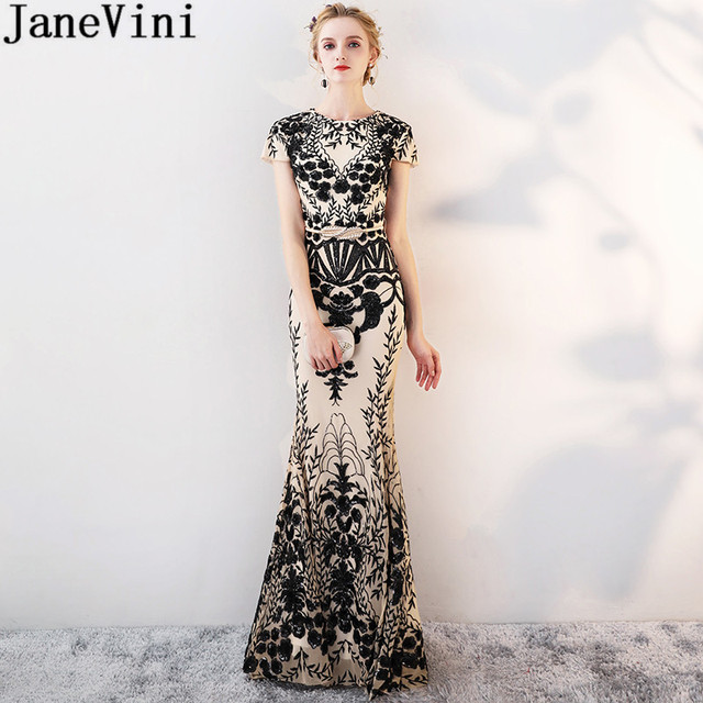 JaneVini 2019 Black Sequined Lace Gold Bridesmaid Wedding Party Dresses for  Women Floor Length Mermaid Prom Long Elegant Dresses cb9c4fb67808