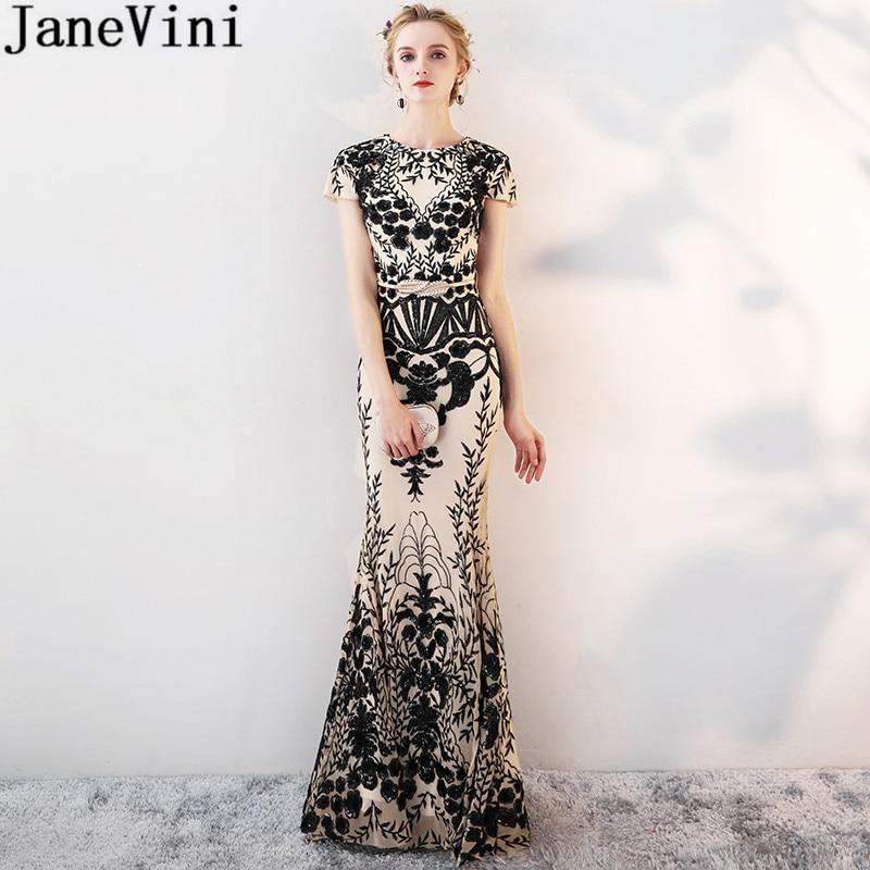 JaneVini 2019 noir paillettes dentelle or demoiselle d'honneur robes de mariée pour les femmes longueur de plancher sirène bal longues robes élégantes