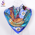 [BYSIFA] New Blue White Square Scarves Shawl Printed 2016 New Brand Satin Scarves Cape Spring Autumn Flowers Silk Muffler
