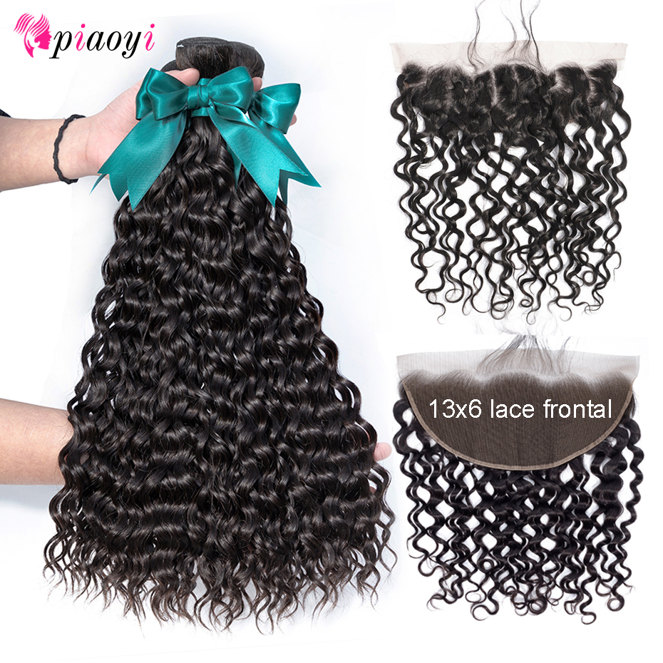 Water Wave Bundles With 13 6 Frontal Remy Human Hair Bundles With Lace Closure Brazilian Hair