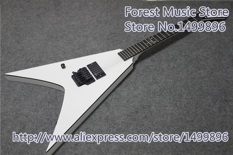 hot edition glossy white left handed flying v electric guitar with scorpion inlay as picture for. Black Bedroom Furniture Sets. Home Design Ideas