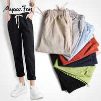 New Women Pants Casual Harajuku Spring Autumn Long Trousers Solid Elastic Waist Cotton Linen Pants Ankle Length Pencil Pants