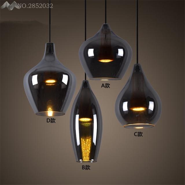 Post Industrial moderna LLEVÓ luces colgantes de cristal lámparas de ...