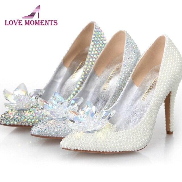 2018 Cinderella Crystal Shoes High Heeled Women Stunning Glasses Slipper  Bling Silver Rhinestone Bridal Wedding Shoes Prom Pumps 80bb380b95c9