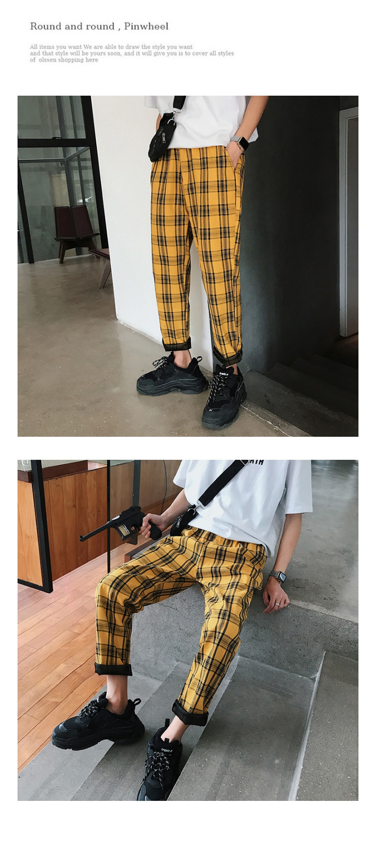 LAPPSTER Streetwear Yellow Plaid Pants Men Joggers 19 Man Casual Straight Harem Pants Men Korean Hip Hop Track Pants Plus Size 8