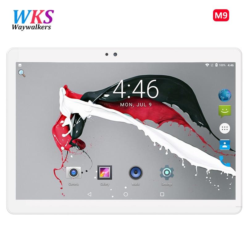 WKS 2018 Octa Core 10.1 64 Polegada tablet 1920X1200 Tablet Android ROM gb Computador Dual SIM GPS Bluetooth 8MP 10 Tablet PC