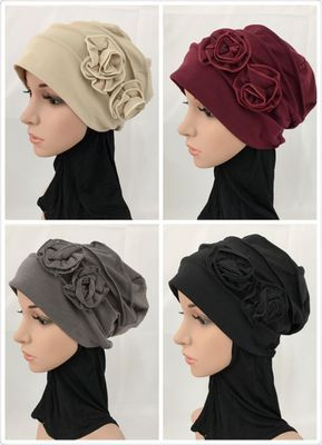 Free Shipping Winter Flower  Inner Muslim Cotton Hijab Cap Islamic Head Wear Hat Underscarf Colors