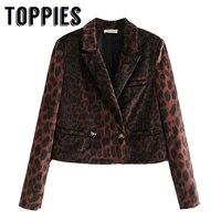 Autumn Winter Vintage Leopard Print Velvet Jacket Women Double Breasted Short Jacket Coat Lady Small Suit