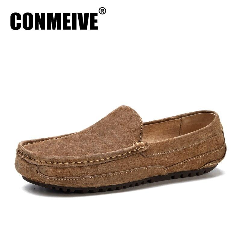 تعزيز الجلود الأخفاف العلامة التجارية أحذية الرجال الشقق متعطل الرجال تنيس مبيعات كاسينز الانزلاق على قارب تنفس عارضة جولة تو