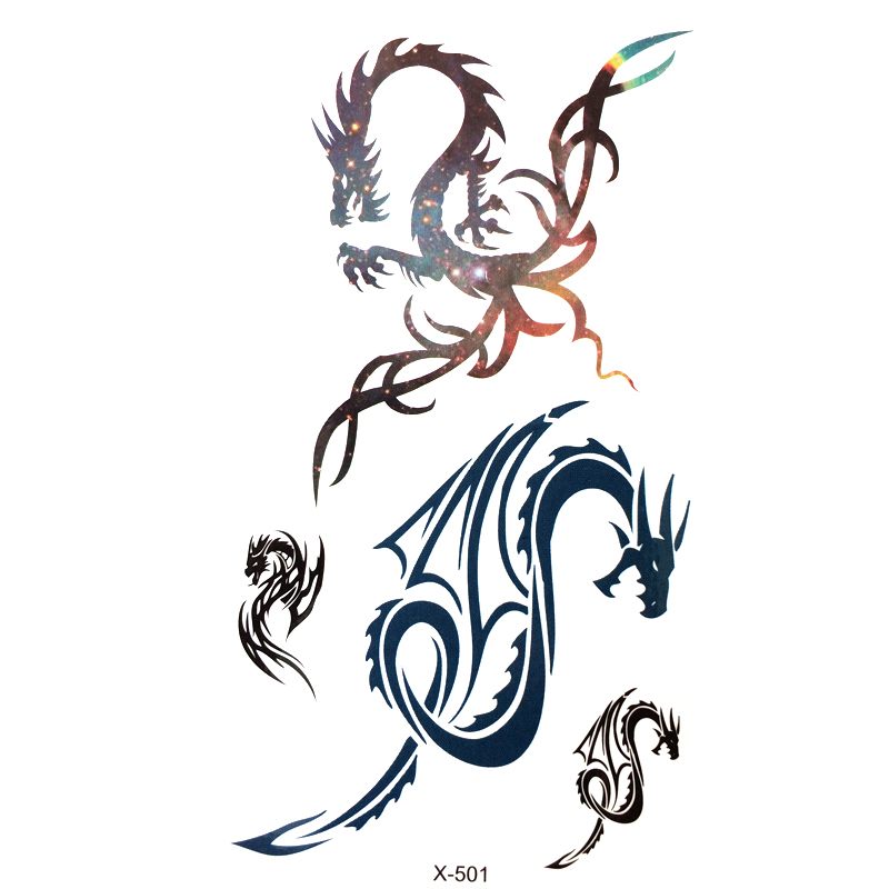 Flying Dragon Waterproof Temporary Tattoos Men  Flash Tattoo Animal Temporary Tattoos Harajuku Henna Tattoo Body Art Sticker