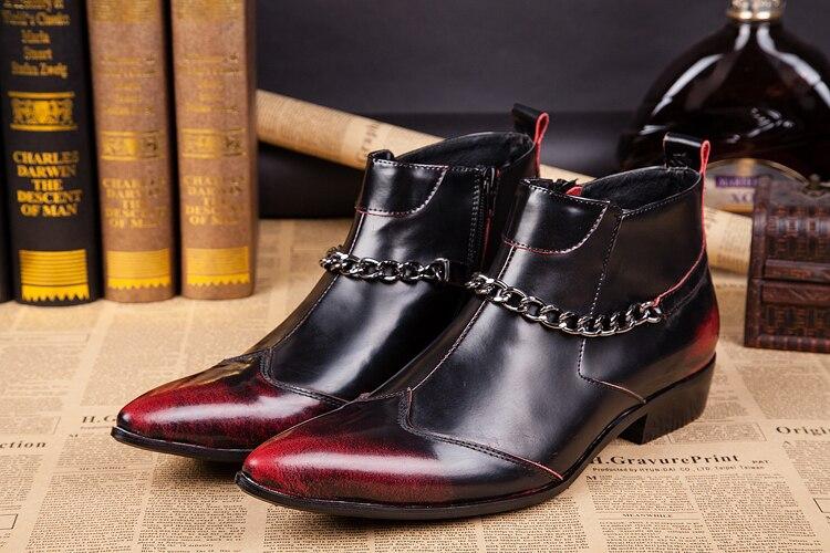 Красный модные высокие свадебные обувь из натуральной кожи мужские цепочки Ботинки Челси увеличивающие рост мужские резиновые непромокае