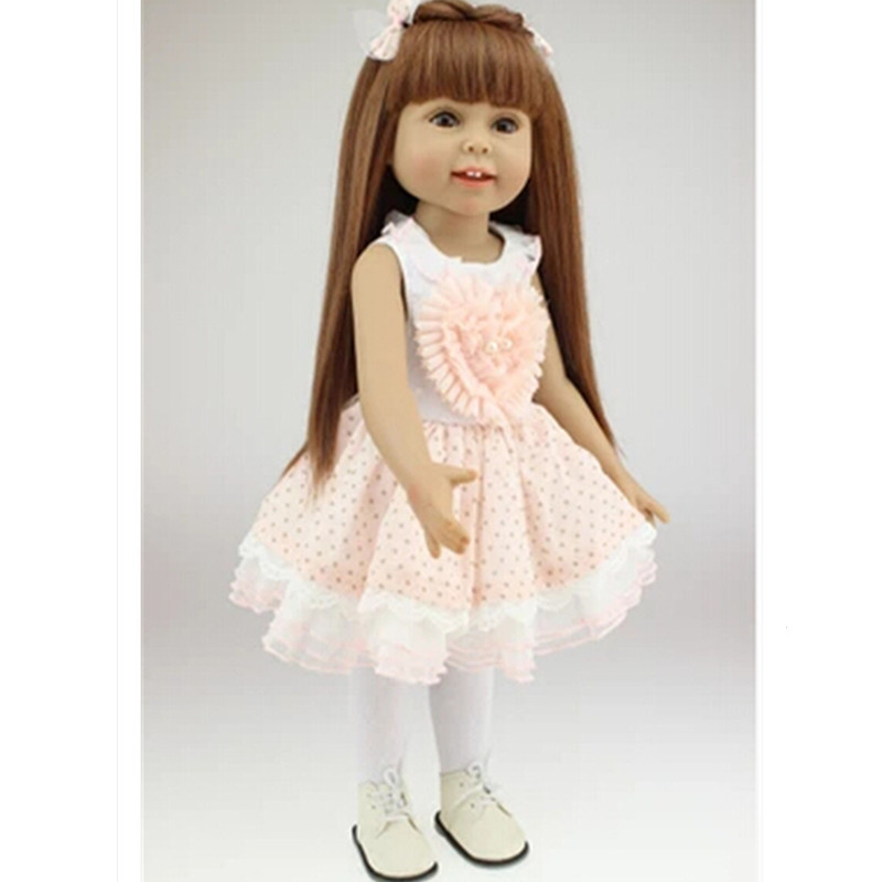 18 New Style  American Girl Doll Princess Doll ,45cm Cute Soft  Plastic Baby Doll Plaything Toys for Children lifelike american 18 inches girl doll prices toy for children vinyl princess doll toys girl newest design