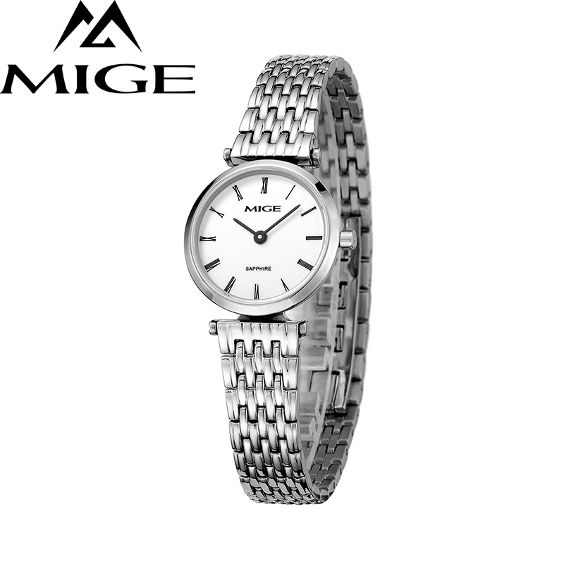 Mige 2017 New Hot Sale Fashion Lover Ladies Watch White Dial Steel Case Female Clock Ultrathin Waterproof Quartz Women Watches mige 2017 new hot sale lover man watch rose gold case white casual ultrathin waterproof relogio masculino quartz mans watches