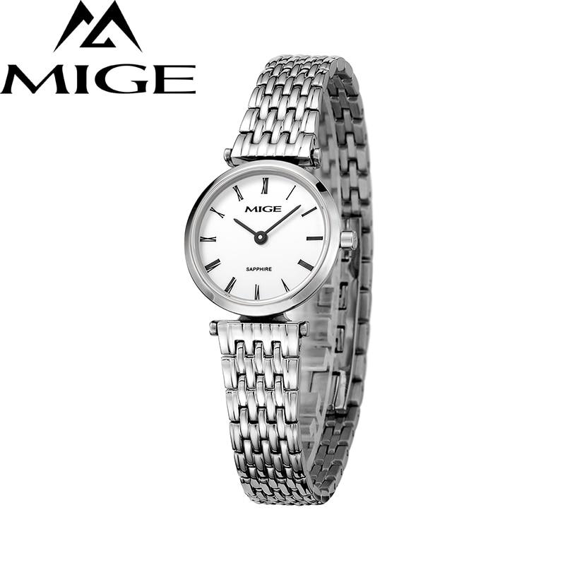 Mige 2017 New Hot Sale Fashion Lover Ladies Watch White Dial Steel Case Female Clock Ultrathin Waterproof Quartz Women Watches