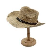 Для женщин Для мужчин полые западная ковбойская шляпа для джентльменов в ковбойском Стиле Джаз церкви Конный Кепки папа queen Лето сомбреро с лента в стиле «панк»