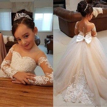 Elegant 2019 Flower Girls Dresses For Weddings Sheer Neck Long Sleeves Applique Lace Tulle Girls Pageant Dress