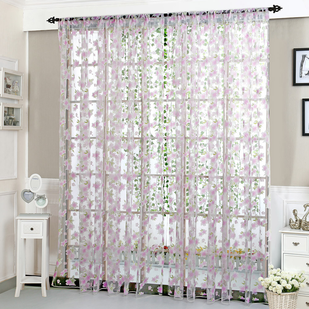 ouneed flower sheer curtain tulle window treatment voile drape valance 1 panel fabric30 roller blinds hot sale