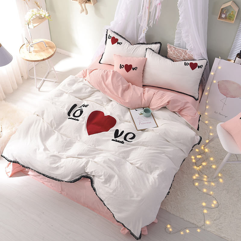 4Pieces red Heart embroidery washed Cotton Luxury Bedding Set King Size Queen Bed Set Duvet Cover Bed Sheet Pillowcase for girl