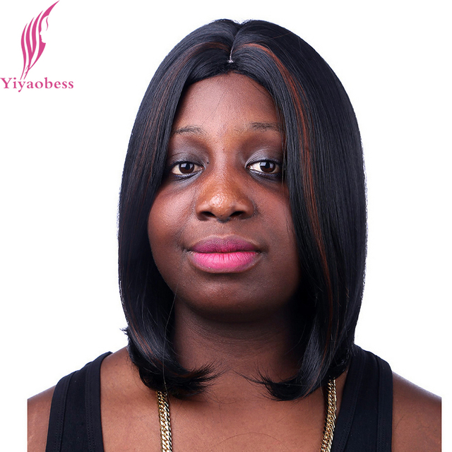 Yiyaobess 14inch Middle Part Brown Highlights On Black Hair Heat