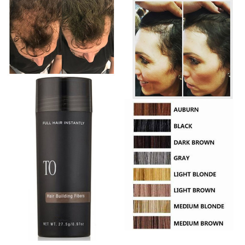 27.5g Hair Building Fibers Hair Fibre Product Beard Fiber Dark Brown Black Blonde for Men Women